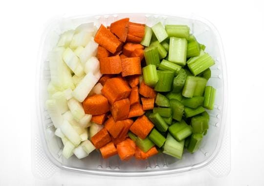 Prepped Mirepoix Veggies