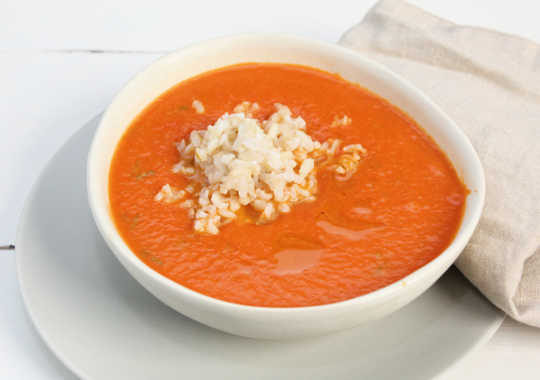 Local Roasted Tomato, Basil, and Brown Rice Soup